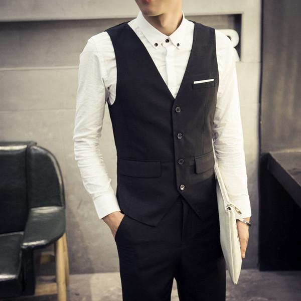 Жилет мужчины Real Chaleco Hombre 2017 новый корейский тонкий мужские костюмы жилет бизнес повседневная костюм британский мода прилив Бесплатная доставка