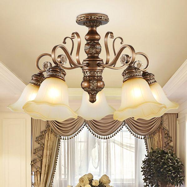 Pendant lamps European resin pendant chandelier light elegant luxury classic American royal fancy led pendant lighting with free bulbs