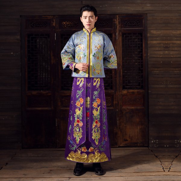 Show mens chinese style wedding Gown red embroidery groom evening gown kimono jacket tang suit toast costumes pratensis clothing
