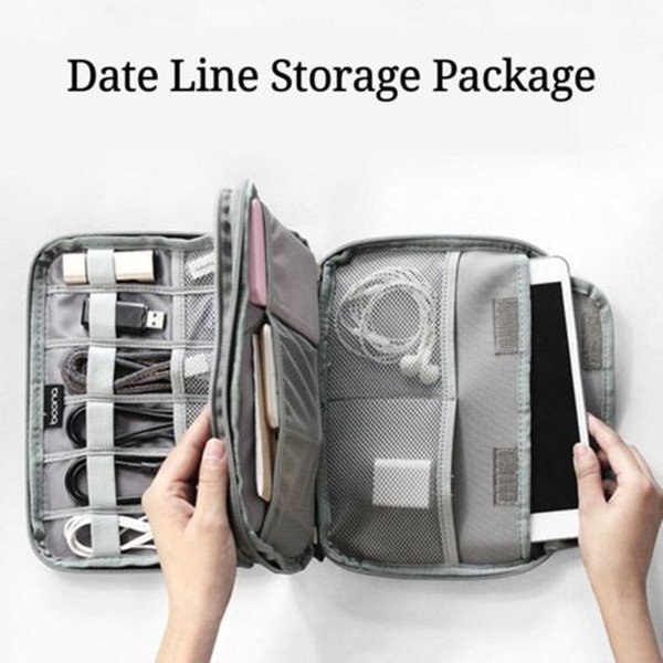 Portable Travel Electronic Accessories Cable Organizer Bag Case SD Cards Flash Drives Wires Earphones Double Layer Storage Box