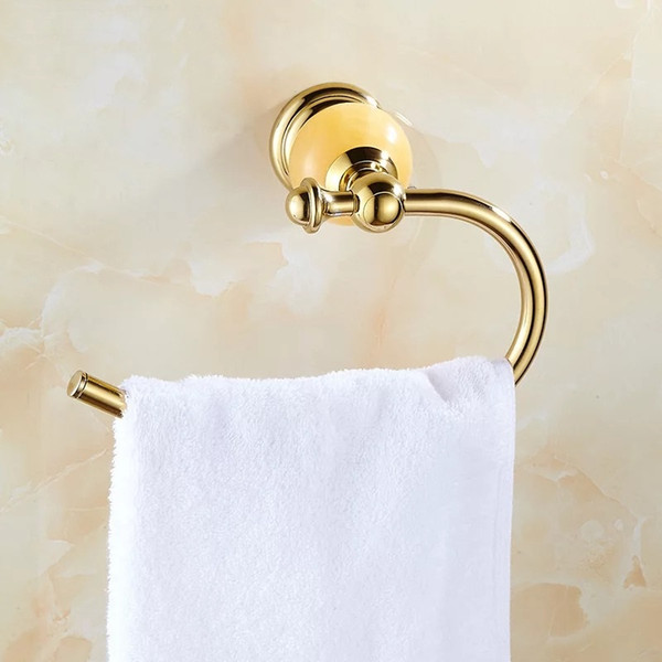 best selling Jade semi-circle Towel Ring Solid Brass Copper Golden Finished Bathroom Accessories Products ,Towel Holder,Towel bar
