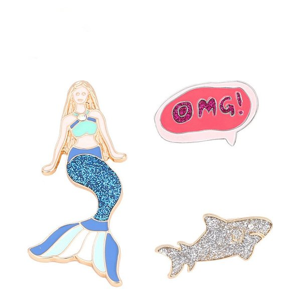 Cute Cartoon Mermaid Brooch Pins Fairy Tale Shark OMG Cloth Scarf Broches For Kids Christmas Party Jewelry Accessories