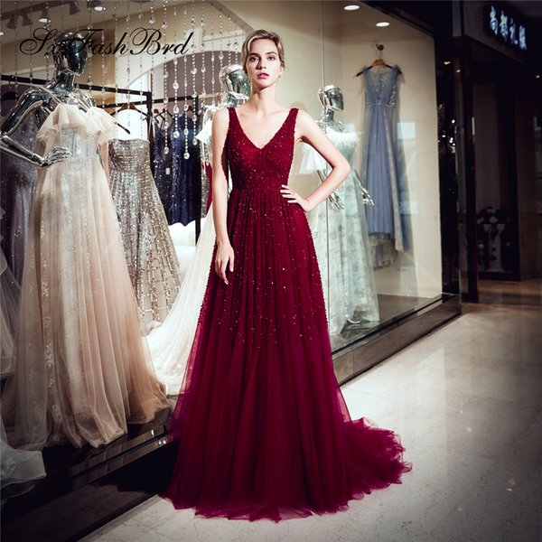 dd03c3e2d05 Fashion Occasion Elegant Dress V Neck Beading A Line Wine Red Tulle Long  Party Formal Evening Dresses Women Prom Dress Gowns Ladies Clothing Online  ...