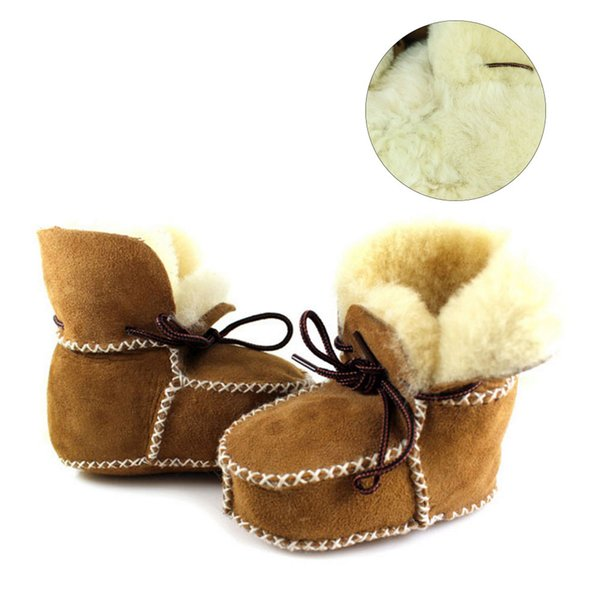 Winter Baby Boys Shoes Sheepskin Genuine Leather Boots Infants Warm Real Fur Wool First Walkers Newborn Girls Booties Sneakers