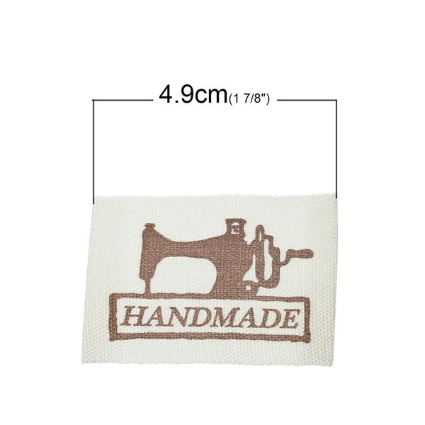 200PCs Printed Hand made Labels Clothing Shoes Bags Woven Labels Washable Cotton Garment Tags Grosgrain Label 4.9 x2.5cm