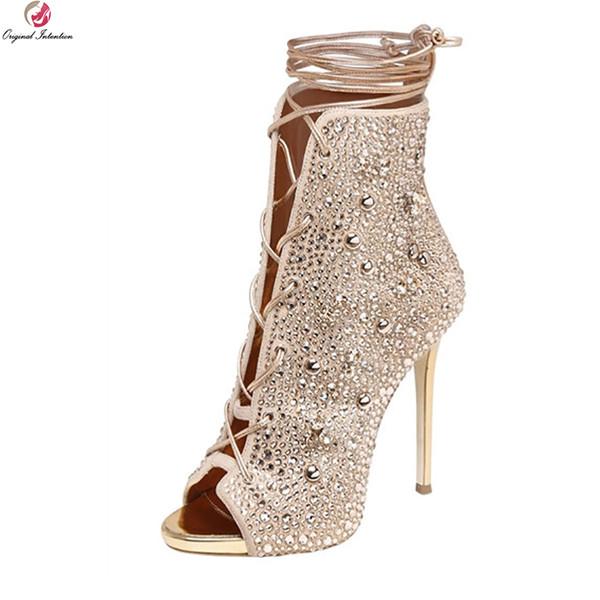 Intención original Mujeres Súper Magníficas Botines Peep Toe Botas de tacón fino Botas Oro Plata Zapatos Mujer más tamaño EE. UU. 3-10.5