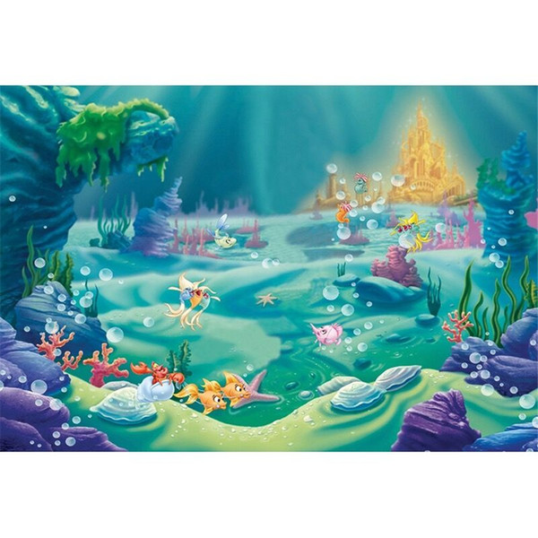 top popular Little Mermaid Birthday Party Photo Booth Backdrop Fishes Bubbles Gold Castle Under the Sea Princess Baby Girl Photography Studio Background 2019