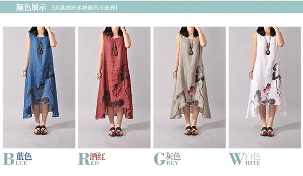 2018 Chinese style ink painting art fan loose large size short-sleeved dress printing cotton and linen dress Q8
