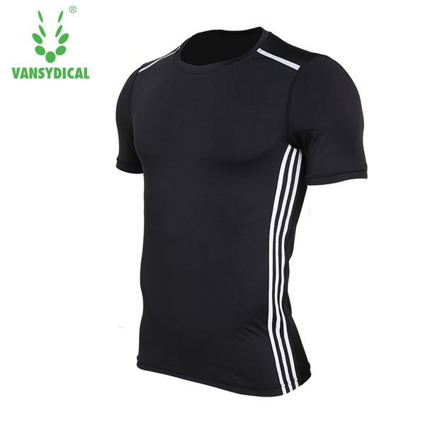Vansydical Mens Compression Shirt Bodybuilding Short Sleeve T Shirt Crossfit Tops Shirts Running Gym Fitness Tank Tops For Men