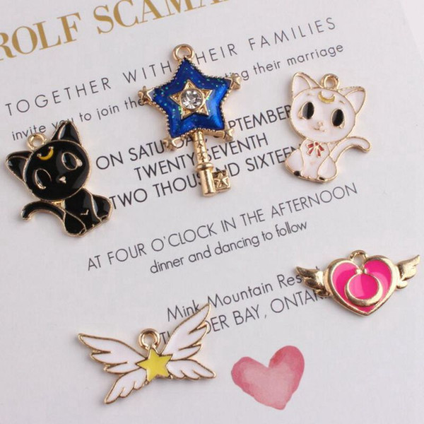 Wholesale 100pcs/lot Oil Drop Fashion Zinc Alloy Girls Series Charm Pendants Gold-Color Floating Enamel Fashion Jewelry Accessories