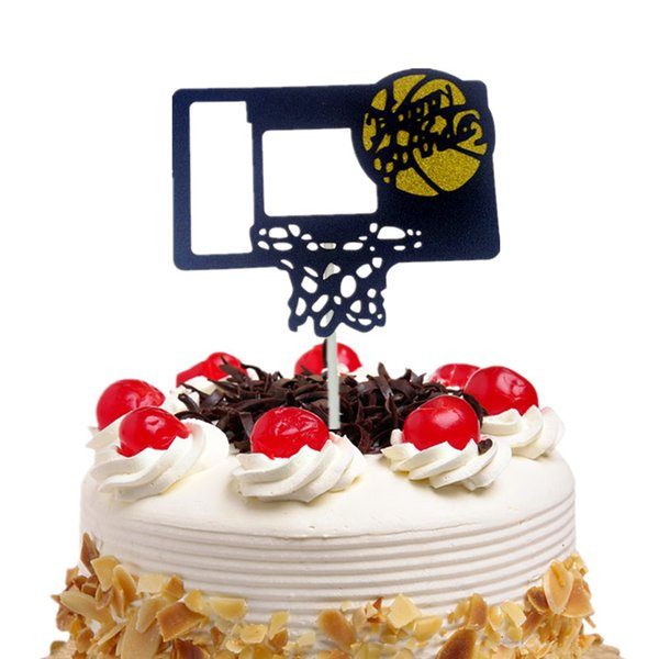 20pc Cake Toppers Flags Happy Birthday Basketball Cupcake Cake Topper Kids Gift Wedding Bride Party Baby Shower Baking DIY Decor