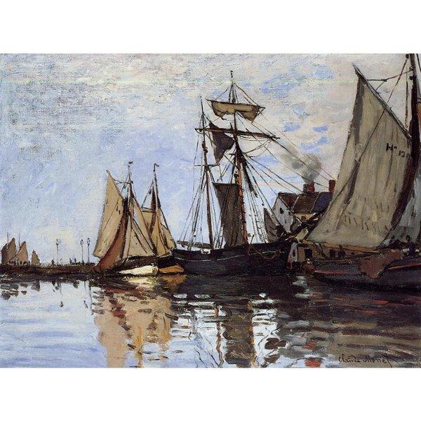 Wandkunst-Ölgemälde-Boote im Hafen von Honfleur Berühmte Kunst Claude Monet auf Segeltuch handgemalt