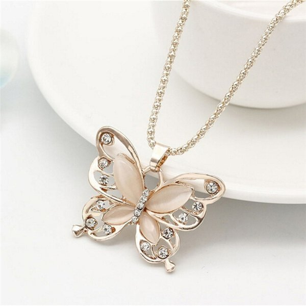 Rose Gold Acrylic Crystal 4CM Big Butterfly Pendant Necklace 70CM Long Chain Sweater Jewelry For Women