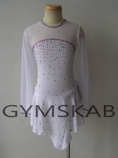 2018 Pretty Beyaz Artistik patinaj Elbise kadın kızın Özelleştirilmiş Buz Pateni Elbise Uzun kollu Jimnastik Kostüm 5168