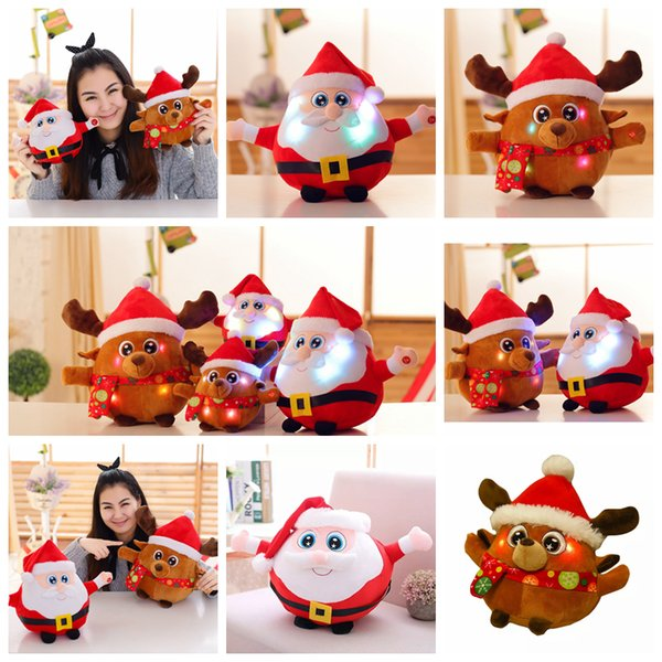 35cm Colorful Glowing Christmas father Milu deer Plush Doll Toys Creative Light Up LED Singing music Stuffed animals Kids Toy AAA1271