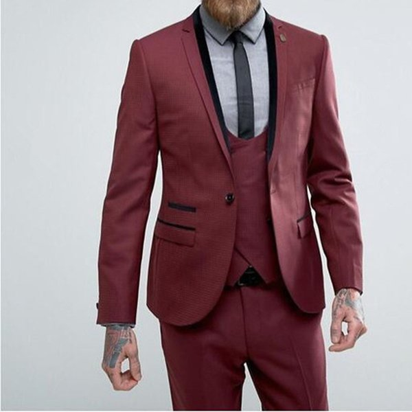 One Button Burgundy Men Suit 2017 single Breasted Slim 3 Pieces Wedding Suits For Men Custom Made Groom suits Tuxedos Blazer
