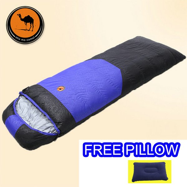 Sam Camel outdoor CM107 adult splicing sleeping bag 800g/1000g duck down filler sleeping bag with free pillow Winter thermal
