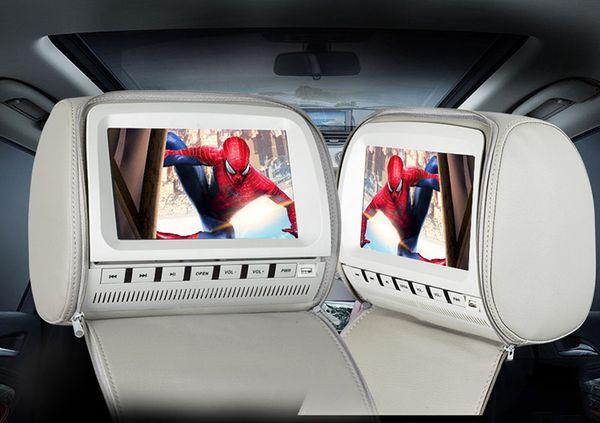 9 zoll auto dvd player kopfstütze 1080 P USB SD FM IR sender spiel fernbedienung leder grau für auto rücksitz unterhaltungssystem