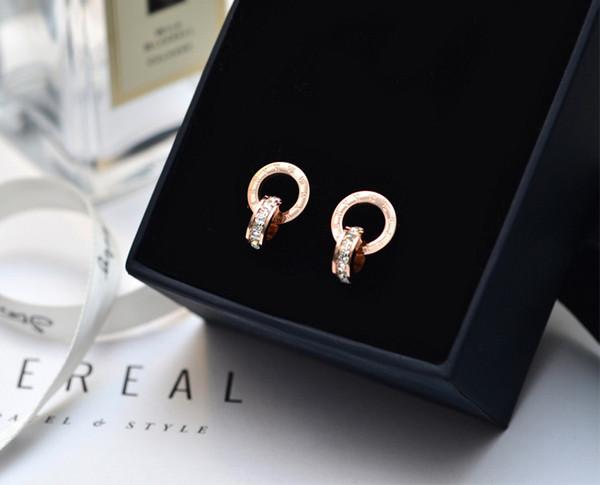 Marque bulgar or argent couleur romaine chiffres zircon stud pour femme 316L en acier inoxydable bijoux de mode jamais se fanent