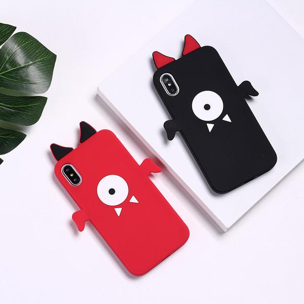 Marque de mode Diable Yeux Litchi Motif Doux Solicon Couverture Arrière Cas de Téléphone Pour iPhone6 / 7/8 7 Plus Skinny Shell Protection