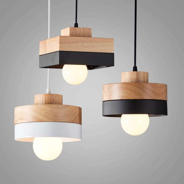 Round Square Wood Led 27 Pendant Light Modern Nordic Minimalist Hanging Lamp For Dining Room Living Room Bedside Lamp Bar Suspension Light Bedroom