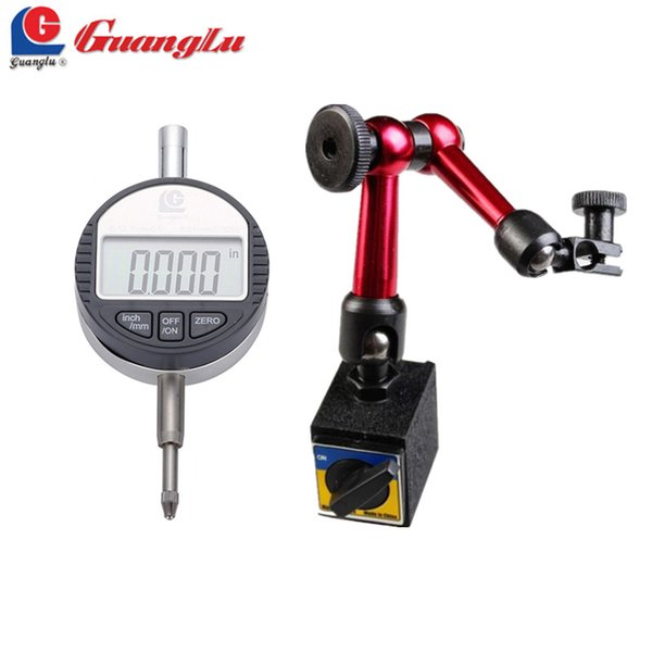 best selling Freeshipping 2Pcs lot Digital Dial Indicator 0-12.7mm 0.5'' 0.01 With Mini Magnetic Base Holder Gauge Caliper Measuring Tools