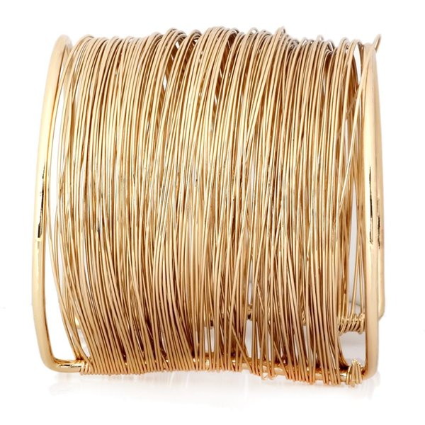 Metal Coil Thin Cuff Bracelet Wide Wire Open Cuff Bracelet Bangle
