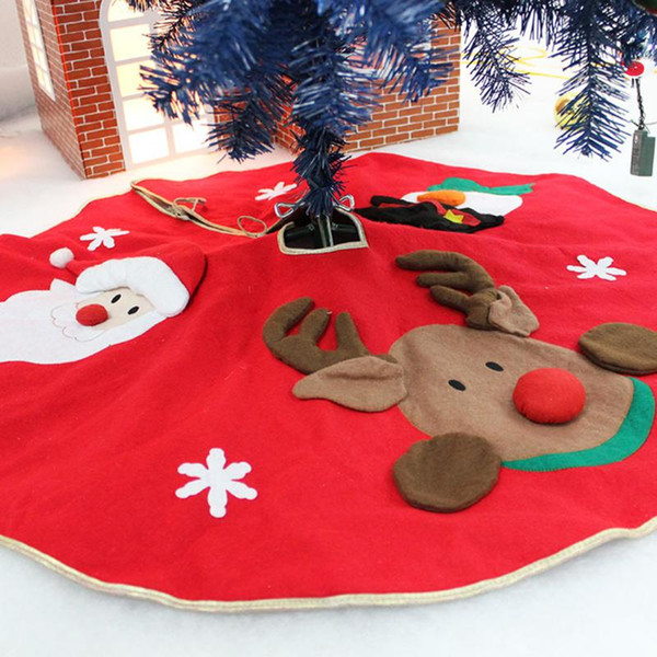70-100cm Red Christmas Tree Skirt Embroidered Non-woven Xmas Trees Ornaments Christmas Decorations for Home