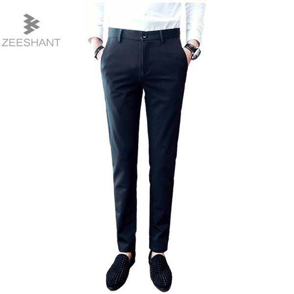 Zeeshant Men's Suit Pants Flat-front Straight Slim-fit Business Straight Male Trousers Thin Office Wear Solid Dress Pants 38