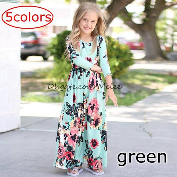 2e2f4246f34 INS Spring Autumn Girls full flower print Dresses Floral Long Sleeve Beach  Dress Cotton Ankle Length