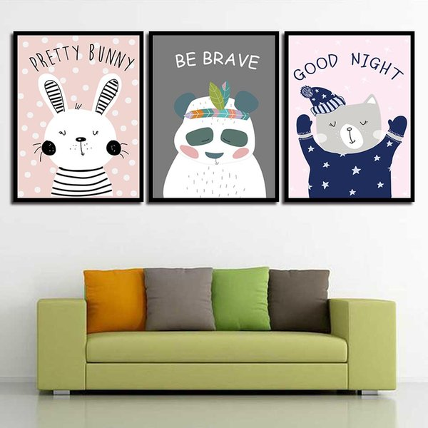 Nordic Style Wall Art Bear Rabbit Poster Print HD Cartoon Animal Canvas Painting Pop Pictures For Living Room Home Decoration