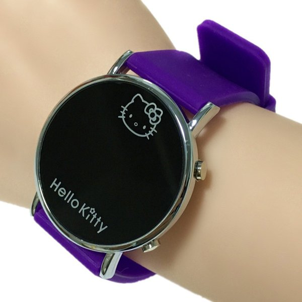 2018 Lovely Silicone Hello Kitty Children Digital Watch kids Watches Gifts for Boys Girls Teen Casual LED Electronic Wristwatch Clock