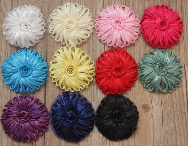 150pcs 6cm tulle mesh fabric flower with felt circle backing for baby girls headband accessories,headbands hair clip flowers