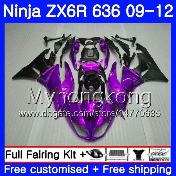 Lila schwarz glänzende Karosserie + Tank für KAWASAKI NINJA ZX636 ZX-6R 2009 2010 2011 2012 208HM.39 ZX 636 ZX 6R 600CC ZX-636 ZX6R 09 10 11 12 Verkleidungen