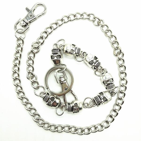 """Men Biker Wallet Keychain Punk Rock Style Silver Skull Metak Chain Pants Chain Jeans Trousers Hipster Waist Key 25.6"""""""