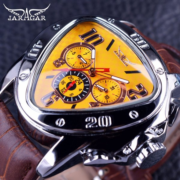 en's Watches Mechanical Wristwatches Jaragar Sport Fashion Design Geometric Triangle Case Brown Leather Strap 3 Dial Men Watch Top Brand ...