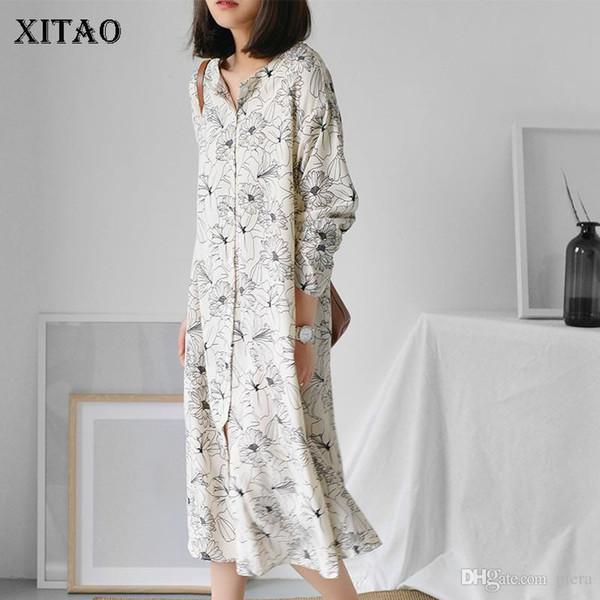 [XITAO] Korea Vintage 2018 Spring Women Floral Pattern V-Neck Full Sleeve Dress Female Mid-Calf Single Breasted Dress XWW3711