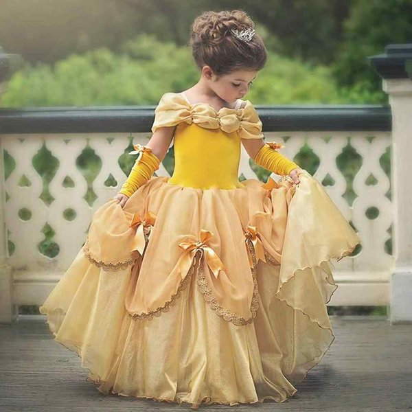 Beauty And Beast Little Girls First Communion Halloween Birthday Pageant Dresses 2019 Ins Fashion Off Shoulder Flower Girls Dress Ball Gown
