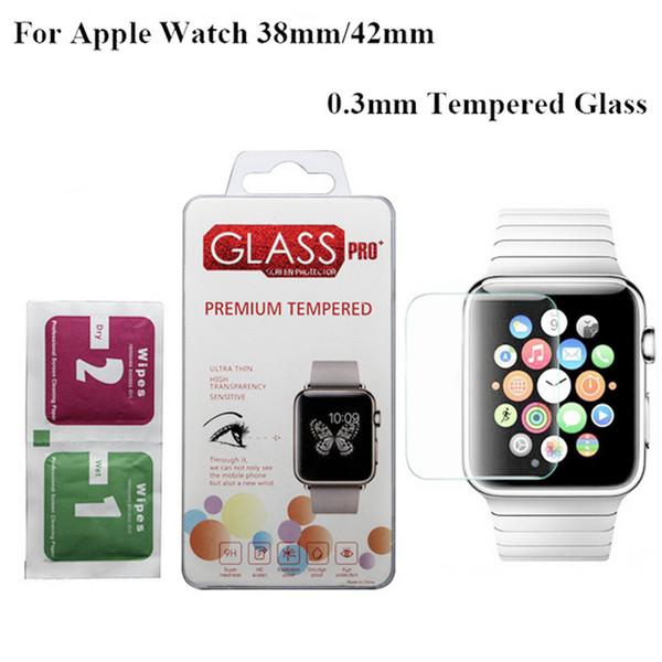 Apple İzle iWatch için 1/2/3/4 38mm 42mm 40mm 44mm Temperli Cam Kapak 0.3mm 2.5D Perakende Paketi Ile 9 H Ekran Koruyucu Flim