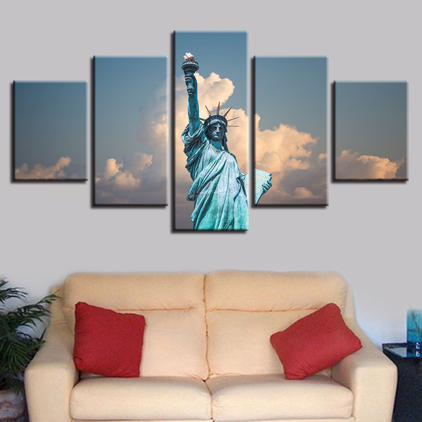 HD Prints Wall Art Framework 5 Pieces Statue Of Liberty Pictures Sunset Landscape Canvas Paintings Poster Living Room Home Decor