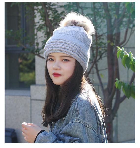 Lady Winter Hats Rabbit Hair Ball Decoration Campaniform Top Type Thicken Keep Warm Fashion Youth Women Caps DC183