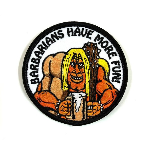 Barbarians Have More Fun Patch Embroidered Motorcycle Applique Badge Embroidery Patch Biker Punk Parch on Clothing for Jacket Backpack