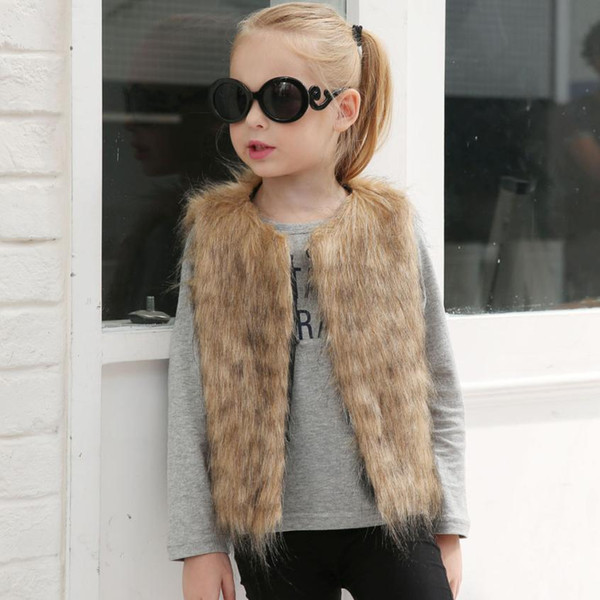 Kid Baby Girl 2018 Newest Autumn Winter Faux Fur Waistcoat Thick Coat Warm Outwear Clothes Baby Newborn Baby Clothes Pelaje