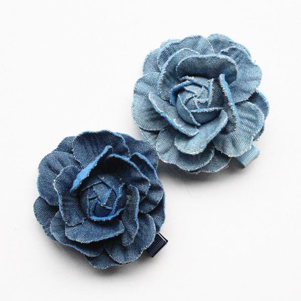 En Kaliteli 20 adet Çiçek Saç Aksesuarları Lacivert Kamelya Çiçek Kız Tokalar Kovboy Malzeme 5 cm Çapı Saç Klipler