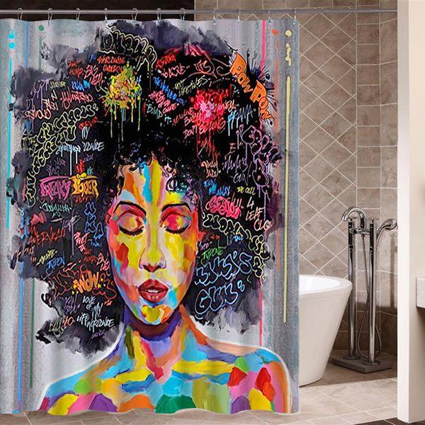 Banyo Dekor için Kentsel Yapı Banyo Perdesi ile Siyah Saçlar Büyük Küpeli ile YENİ Tasarım Sanat Tasarım Graffiti Sanatı Hip Hop Afrika Kız