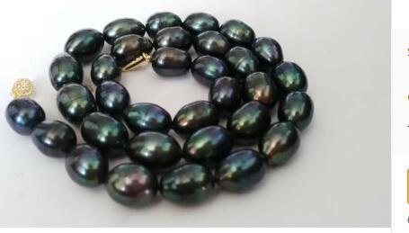 Livraison gratuite superbe 12-13mm baroque Tahitian noir vert collier de perles rouges 18