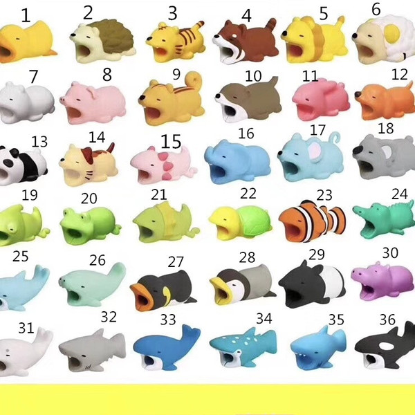36 Arten USB Kabel Biss Ladedatum Kabel Protector Tier Zubehör Spielzeug Kabel beißt Design Cover iPhone Smartphone Ladekabel