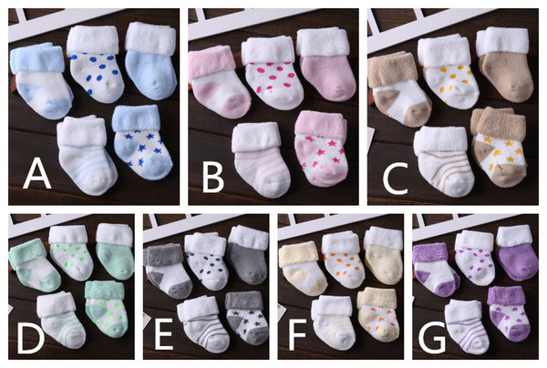5 Pairs One Set Unisex Baby Winter Thicken Knitted Socks Kids Cotton Soft Socks Children's Socks Multicolors for 0- 36 Months