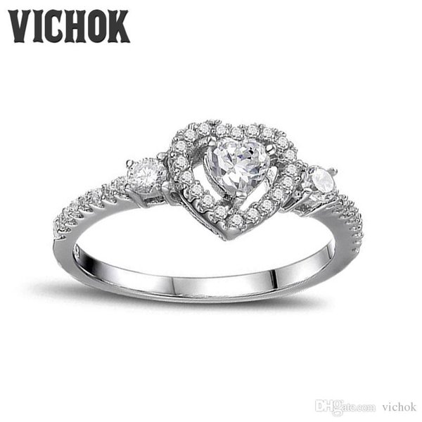 Dudee Heart Shape Pink White CZ Silver Women sterling silver engagement ring fashion rings for women