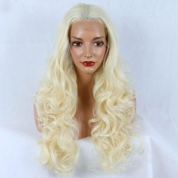 613 # Blonde Résistant à la Chaleur Synthétique Cheveux Avant de Lacet Perruques Longue Bouncy Bouclés Demi Main Remplié Pleine Perruque de Remplacement Pour Les Femmes